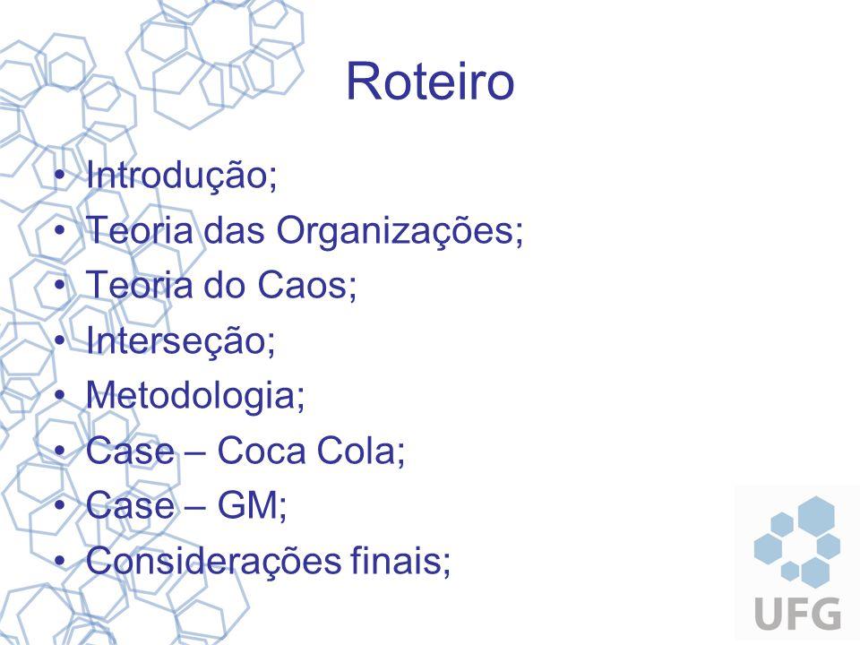 Roteiro Introdução; Teoria das Organizações; Teoria do Caos; Interseção; Metodologia; Case – Coca Cola; Case – GM; Considerações finais;