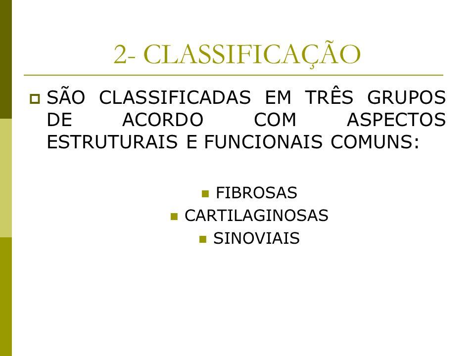2- CLASSIFICAÇÃO SÃO CLASSIFICADAS EM TRÊS GRUPOS DE ACORDO COM ASPECTOS ESTRUTURAIS E FUNCIONAIS COMUNS: FIBROSAS CARTILAGINOSAS SINOVIAIS