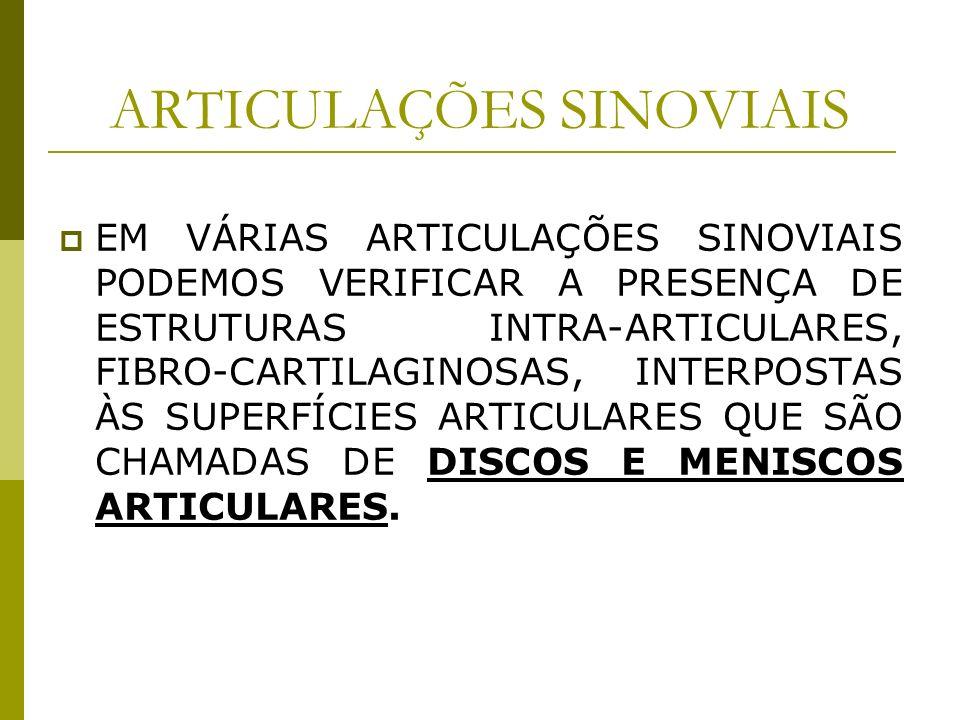ARTICULAÇÕES SINOVIAIS EM VÁRIAS ARTICULAÇÕES SINOVIAIS PODEMOS VERIFICAR A PRESENÇA DE ESTRUTURAS INTRA-ARTICULARES, FIBRO-CARTILAGINOSAS, INTERPOSTA