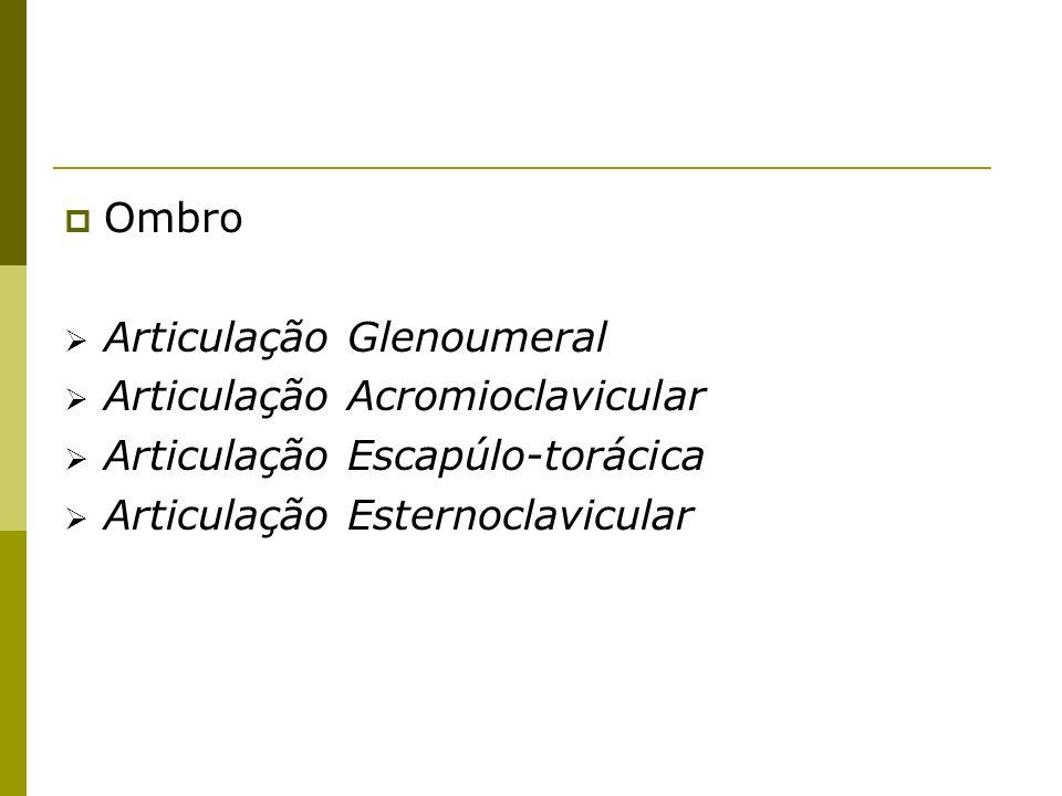 Ombro Articulação Glenoumeral Articulação Acromioclavicular Articulação Escapúlo-torácica Articulação Esternoclavicular
