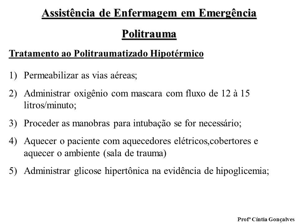 Assistência de Enfermagem em Emergência Politrauma Profª Cíntia Gonçalves 1)Permeabilizar as vias aéreas; 2)Administrar oxigênio com mascara com fluxo