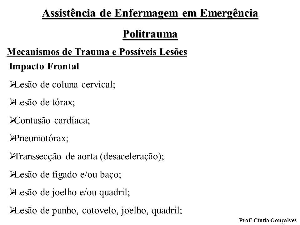 Assistência de Enfermagem em Emergência Politrauma Profª Cíntia Gonçalves Mecanismos de Trauma e Possíveis Lesões Impacto Frontal Lesão de coluna cerv