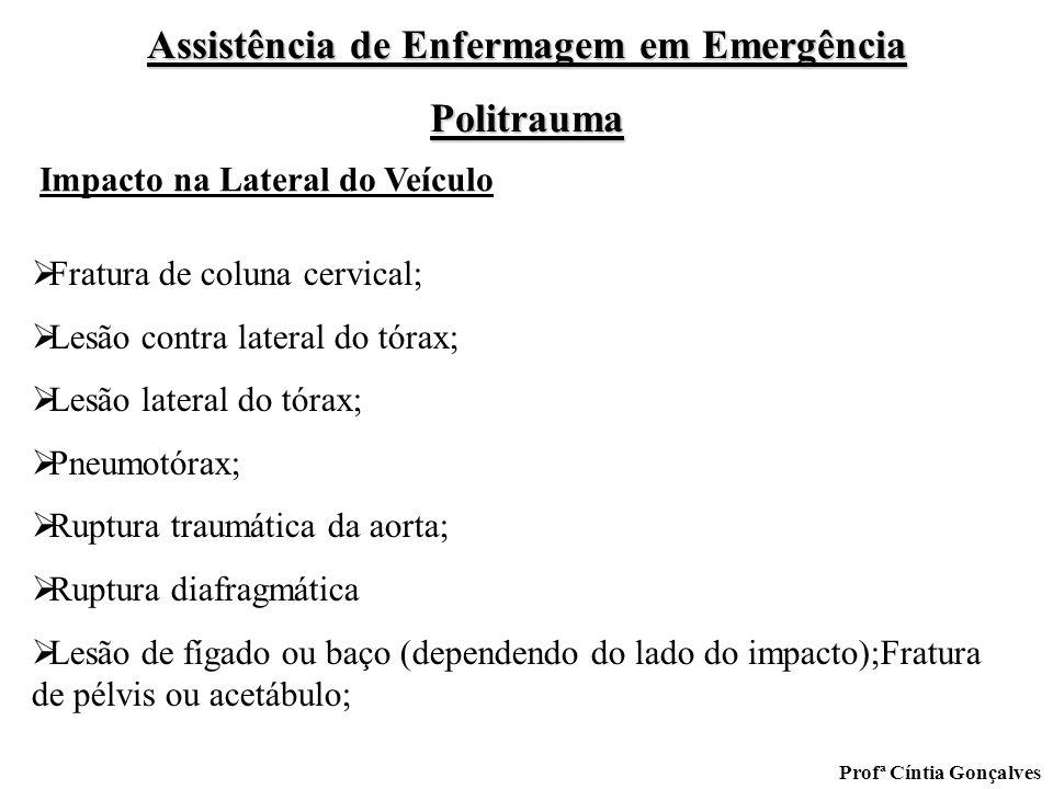 Assistência de Enfermagem em Emergência Politrauma Profª Cíntia Gonçalves Fratura de coluna cervical; Lesão contra lateral do tórax; Lesão lateral do