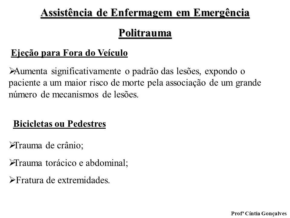 Assistência de Enfermagem em Emergência Politrauma Profª Cíntia Gonçalves Aumenta significativamente o padrão das lesões, expondo o paciente a um maio