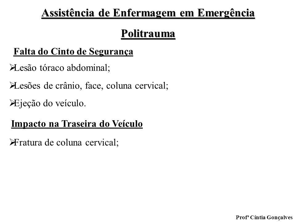 Assistência de Enfermagem em Emergência Politrauma Profª Cíntia Gonçalves Lesão tóraco abdominal; Lesões de crânio, face, coluna cervical; Ejeção do v