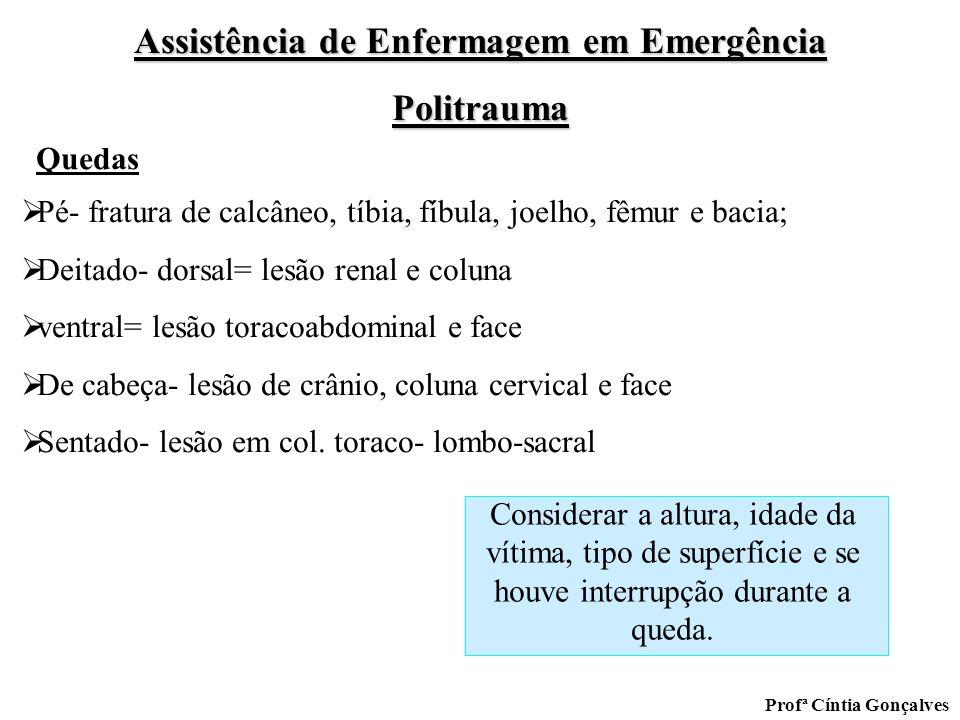 Assistência de Enfermagem em Emergência Politrauma Profª Cíntia Gonçalves Pé- fratura de calcâneo, tíbia, fíbula, joelho, fêmur e bacia; Deitado- dors