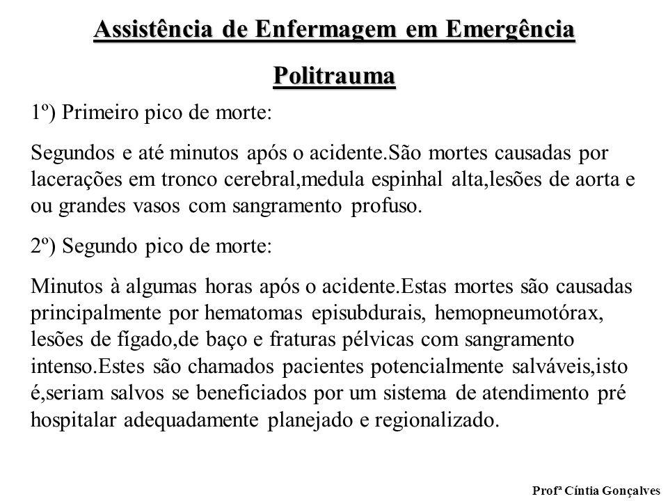 Assistência de Enfermagem em Emergência Politrauma Profª Cíntia Gonçalves 1º) Primeiro pico de morte: Segundos e até minutos após o acidente.São morte