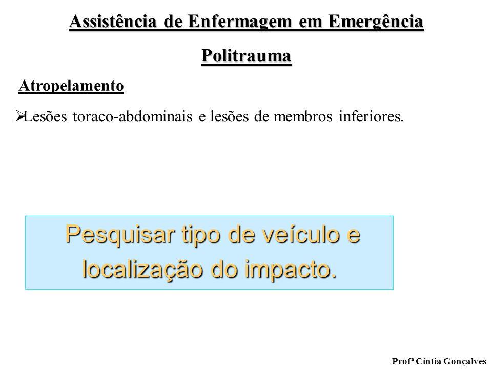 Assistência de Enfermagem em Emergência Politrauma Profª Cíntia Gonçalves Pesquisar tipo de veículo e localização do impacto. Pesquisar tipo de veícul