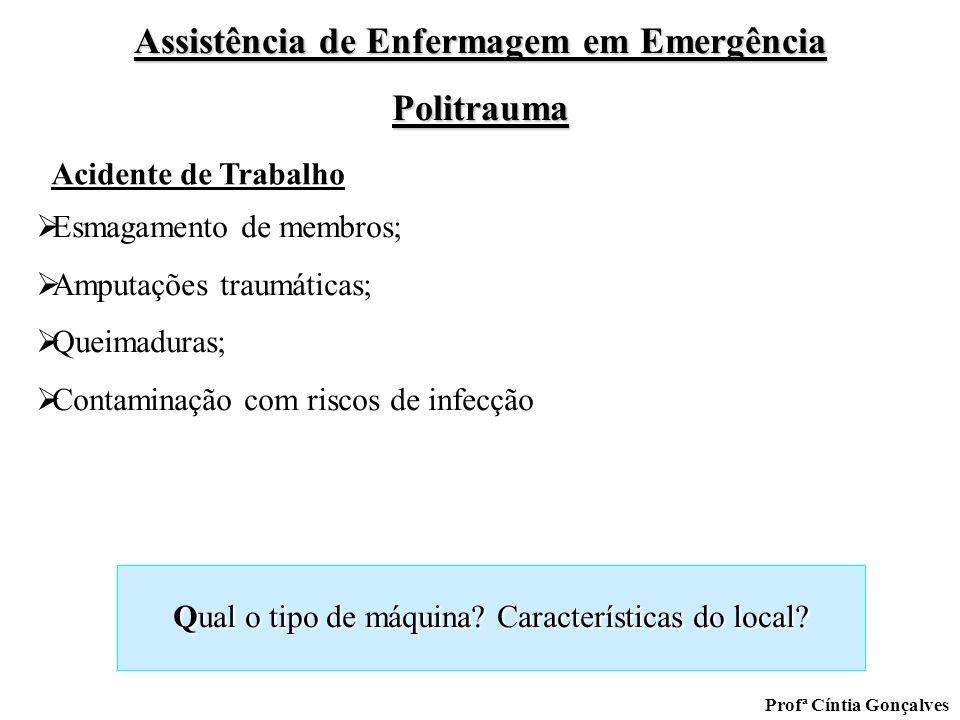 Assistência de Enfermagem em Emergência Politrauma Profª Cíntia Gonçalves Qual o tipo de máquina? Características do local? Esmagamento de membros; Am
