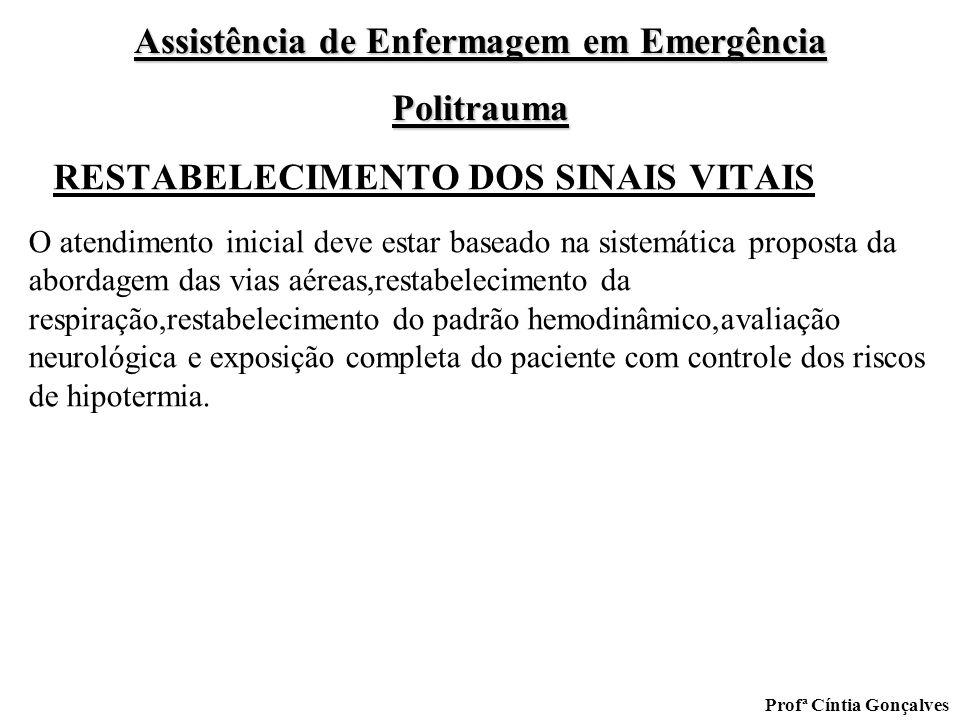 Assistência de Enfermagem em Emergência Politrauma Profª Cíntia Gonçalves RESTABELECIMENTO DOS SINAIS VITAIS O atendimento inicial deve estar baseado