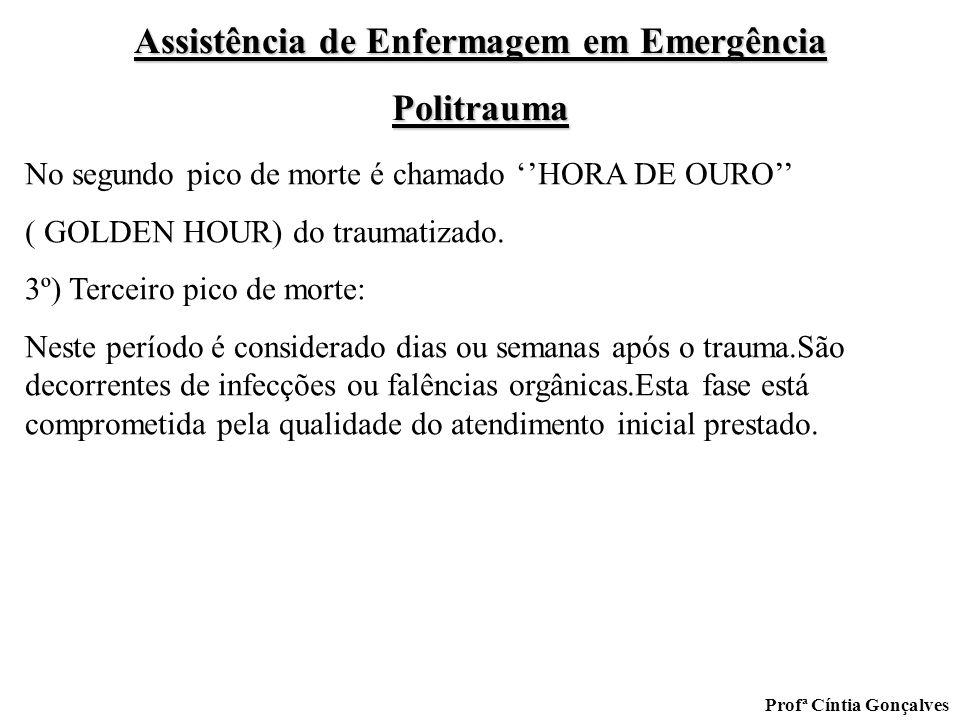 Assistência de Enfermagem em Emergência Politrauma Profª Cíntia Gonçalves No segundo pico de morte é chamado HORA DE OURO ( GOLDEN HOUR) do traumatiza