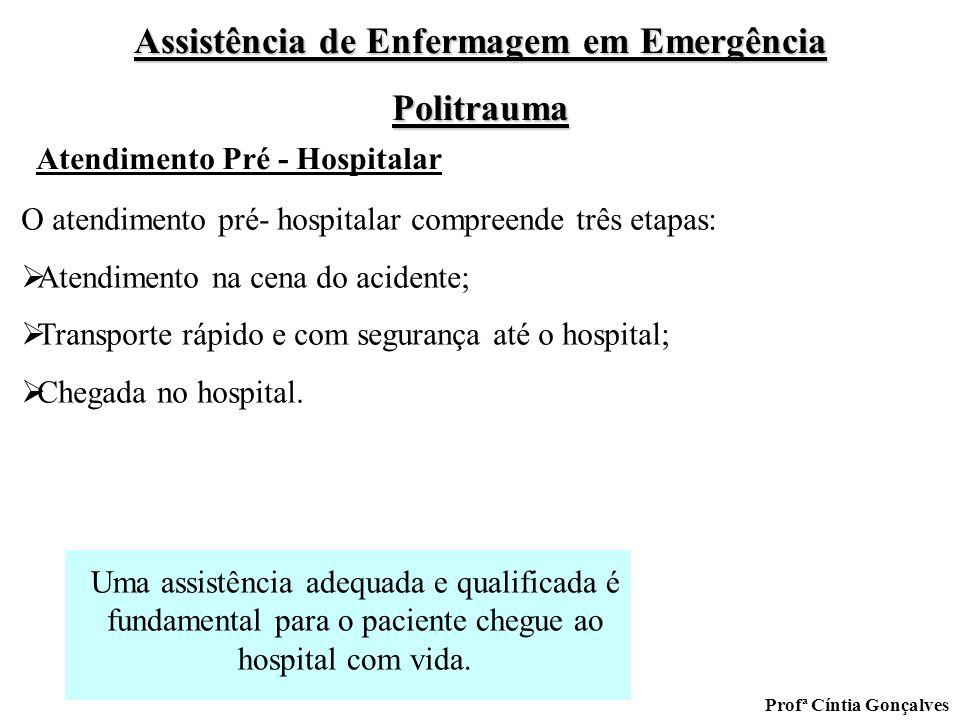 Assistência de Enfermagem em Emergência Politrauma Profª Cíntia Gonçalves O atendimento pré- hospitalar compreende três etapas: Atendimento na cena do