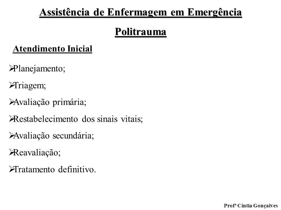 Assistência de Enfermagem em Emergência Politrauma Profª Cíntia Gonçalves Planejamento; Triagem; Avaliação primária; Restabelecimento dos sinais vitai