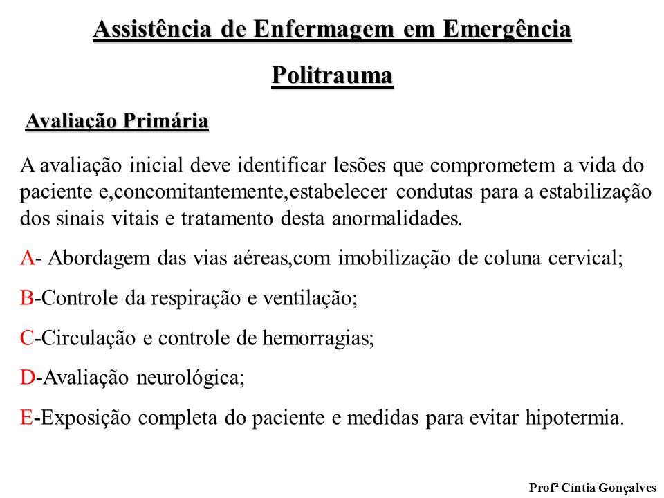 Assistência de Enfermagem em Emergência Politrauma Profª Cíntia Gonçalves A avaliação inicial deve identificar lesões que comprometem a vida do pacien
