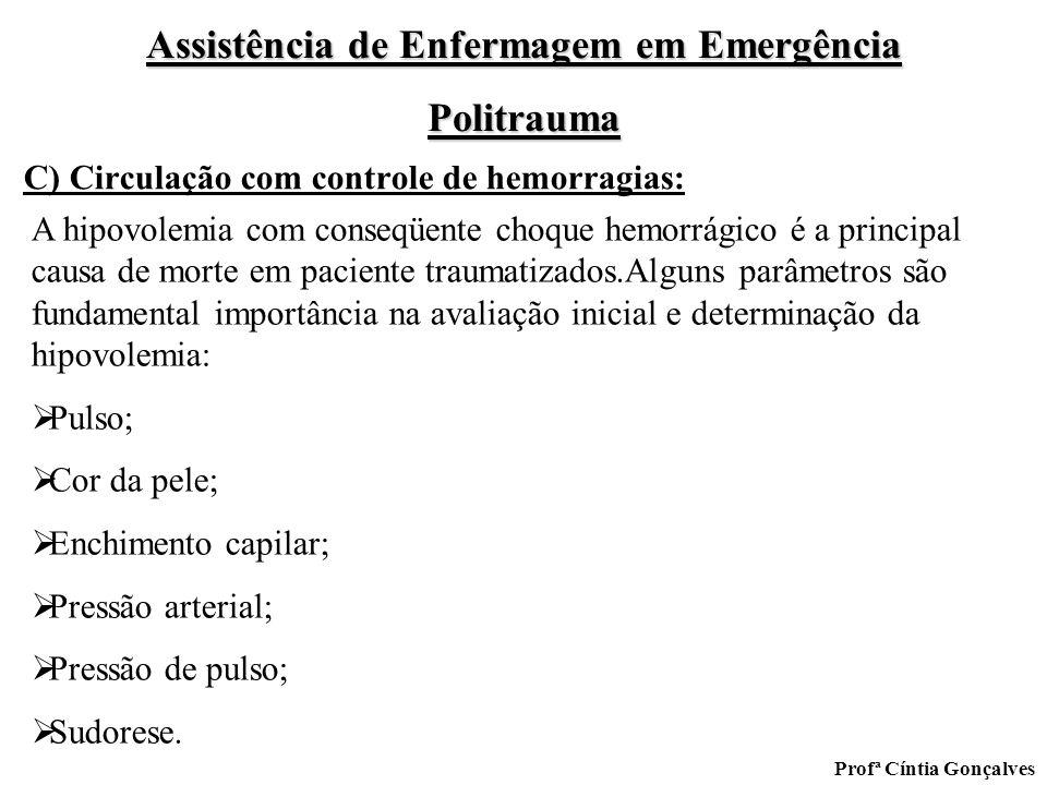 Assistência de Enfermagem em Emergência Politrauma Profª Cíntia Gonçalves C) Circulação com controle de hemorragias: A hipovolemia com conseqüente cho