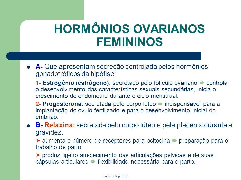 www.bioloja.com HORMÔNIOS OVARIANOS FEMININOS A- Que apresentam secreção controlada pelos hormônios gonadotróficos da hipófise: 1- Estrogênio (estróge