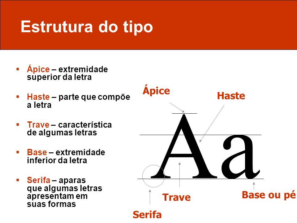Estrutura do tipo Ápice – extremidade superior da letra Haste – parte que compõe a letra Trave – característica de algumas letras Base – extremidade i