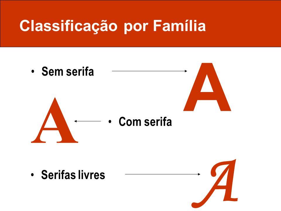 Sem serifa A A A Com serifa Serifas livres Classificação por Família