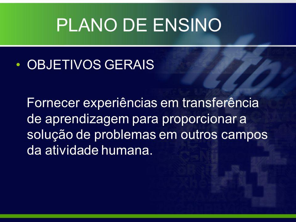 PLANO DE ENSINO OBJETIVOS GERAIS Criar e executar relatórios de informações gerenciais com ilustrações gráficas.