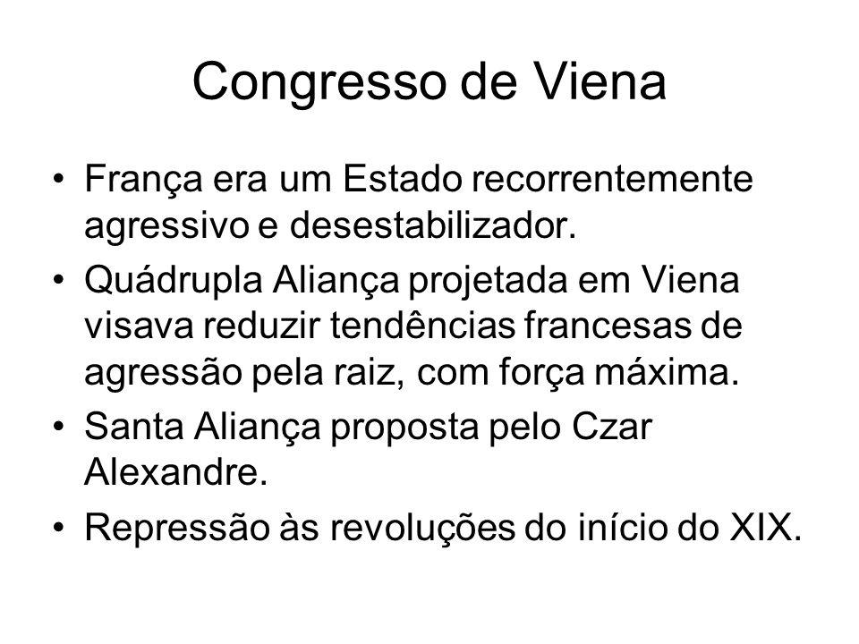 Congresso de Viena França era um Estado recorrentemente agressivo e desestabilizador. Quádrupla Aliança projetada em Viena visava reduzir tendências f