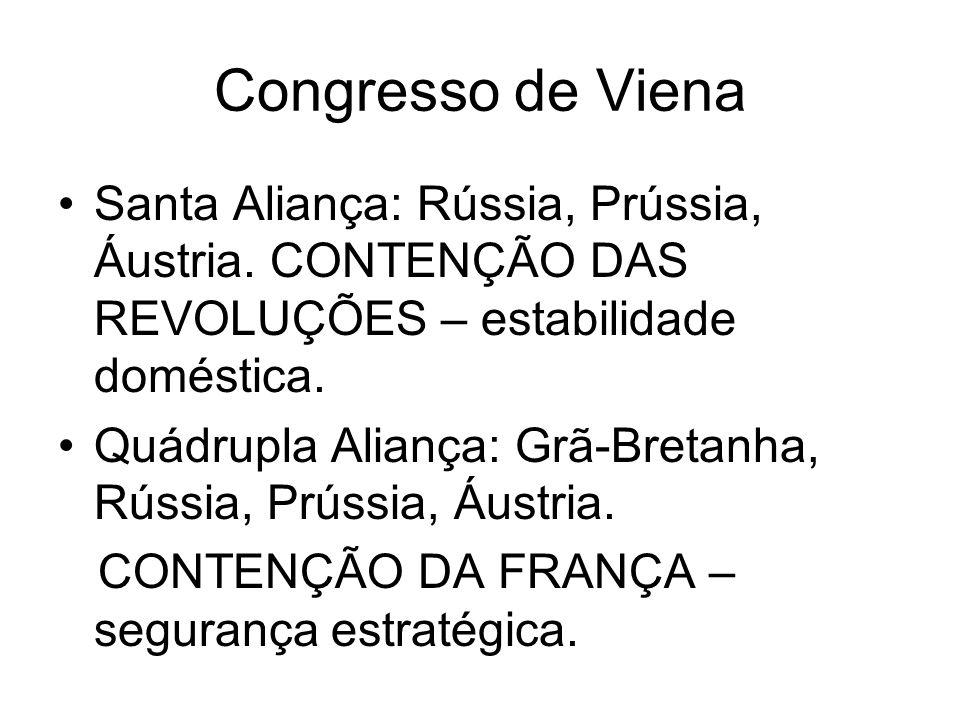 Congresso de Viena Santa Aliança: Rússia, Prússia, Áustria. CONTENÇÃO DAS REVOLUÇÕES – estabilidade doméstica. Quádrupla Aliança: Grã-Bretanha, Rússia