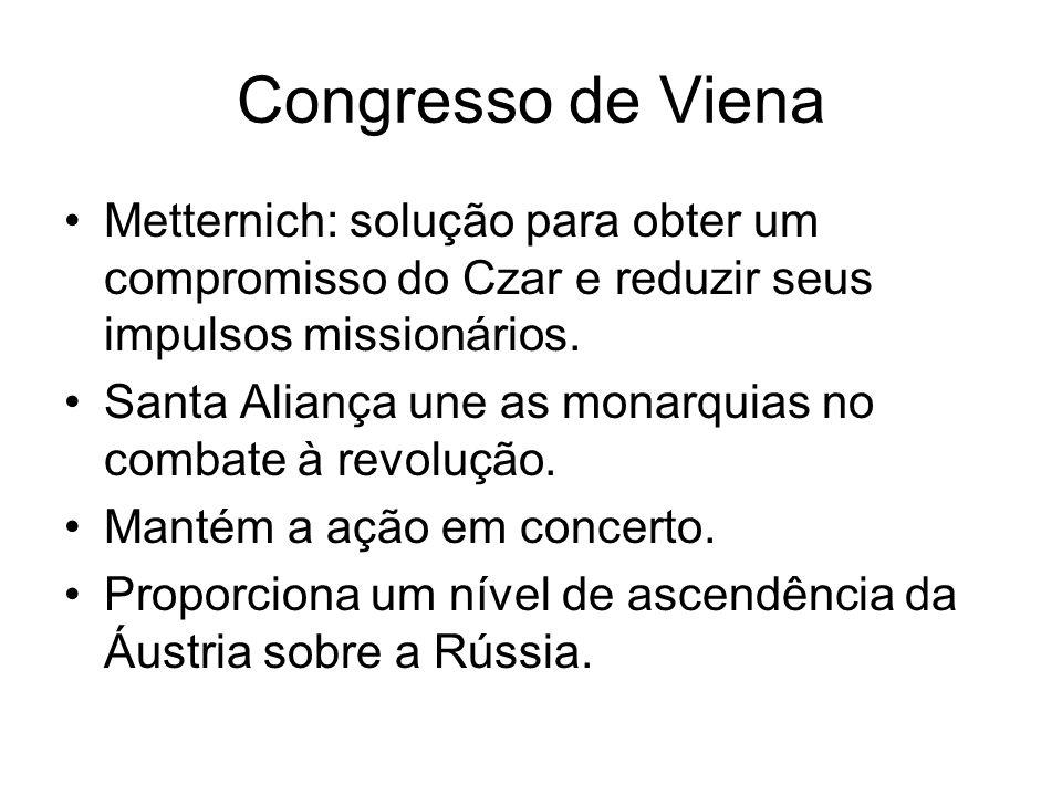 Congresso de Viena Metternich: solução para obter um compromisso do Czar e reduzir seus impulsos missionários. Santa Aliança une as monarquias no comb