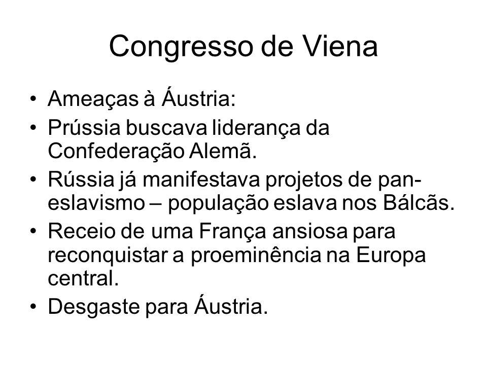 Congresso de Viena Ameaças à Áustria: Prússia buscava liderança da Confederação Alemã. Rússia já manifestava projetos de pan- eslavismo – população es