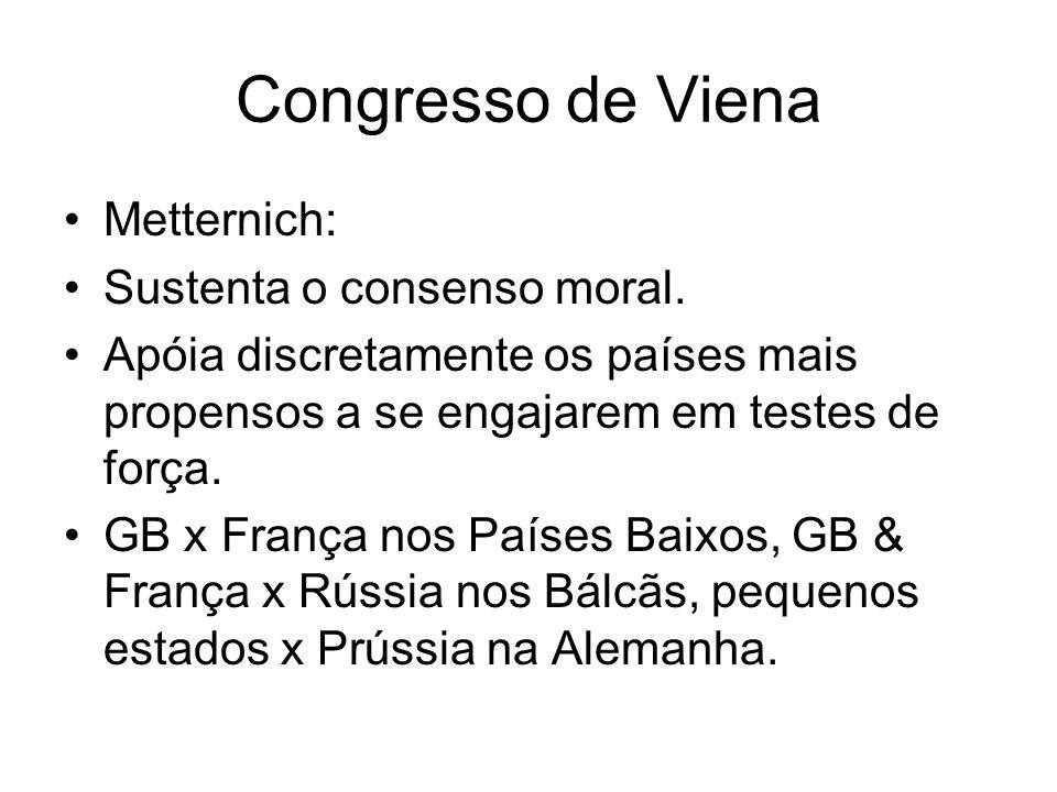 Congresso de Viena Metternich: Sustenta o consenso moral. Apóia discretamente os países mais propensos a se engajarem em testes de força. GB x França