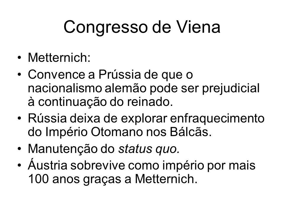 Congresso de Viena Metternich: Convence a Prússia de que o nacionalismo alemão pode ser prejudicial à continuação do reinado. Rússia deixa de explorar