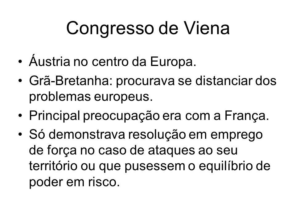 Congresso de Viena Áustria no centro da Europa. Grã-Bretanha: procurava se distanciar dos problemas europeus. Principal preocupação era com a França.