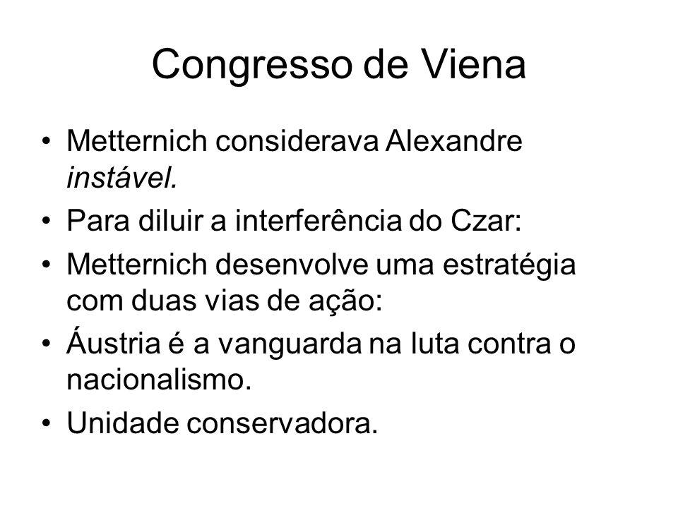 Congresso de Viena Metternich considerava Alexandre instável. Para diluir a interferência do Czar: Metternich desenvolve uma estratégia com duas vias