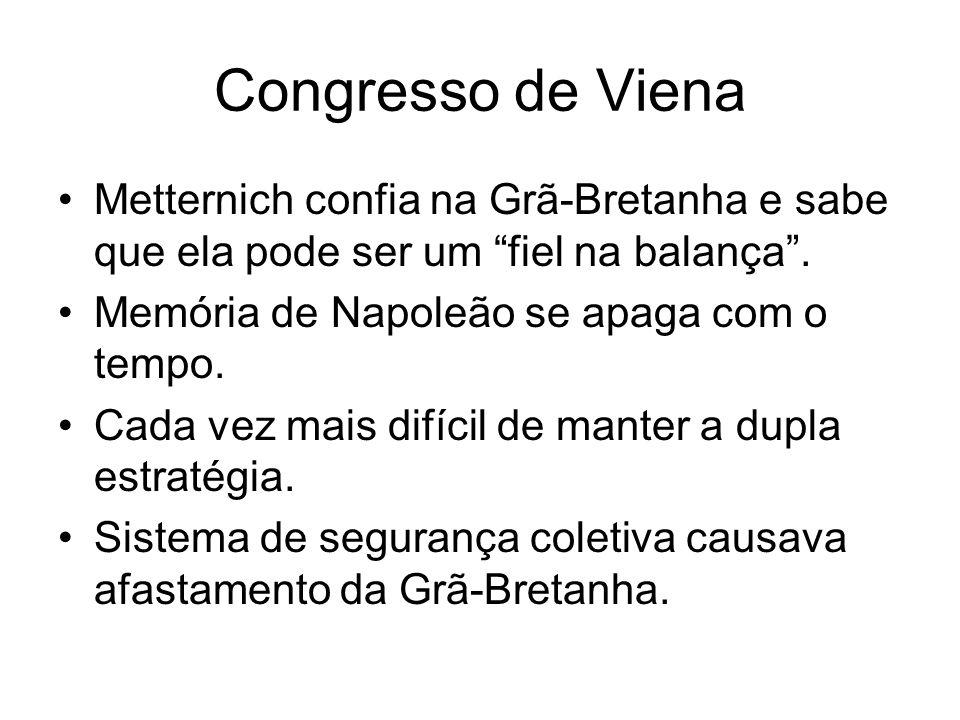 Congresso de Viena Metternich confia na Grã-Bretanha e sabe que ela pode ser um fiel na balança. Memória de Napoleão se apaga com o tempo. Cada vez ma