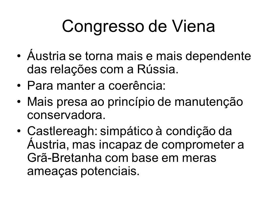Congresso de Viena Áustria se torna mais e mais dependente das relações com a Rússia. Para manter a coerência: Mais presa ao princípio de manutenção c