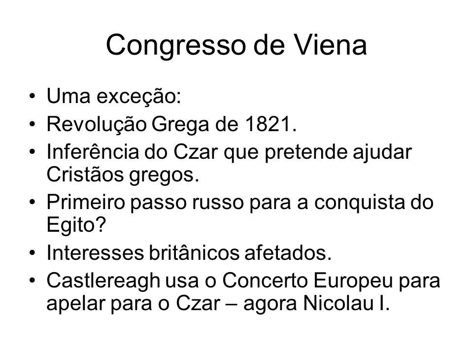 Congresso de Viena Uma exceção: Revolução Grega de 1821. Inferência do Czar que pretende ajudar Cristãos gregos. Primeiro passo russo para a conquista