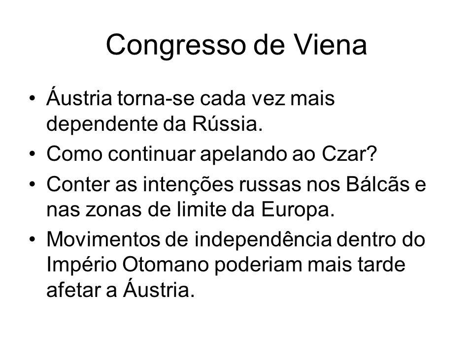 Congresso de Viena Áustria torna-se cada vez mais dependente da Rússia. Como continuar apelando ao Czar? Conter as intenções russas nos Bálcãs e nas z