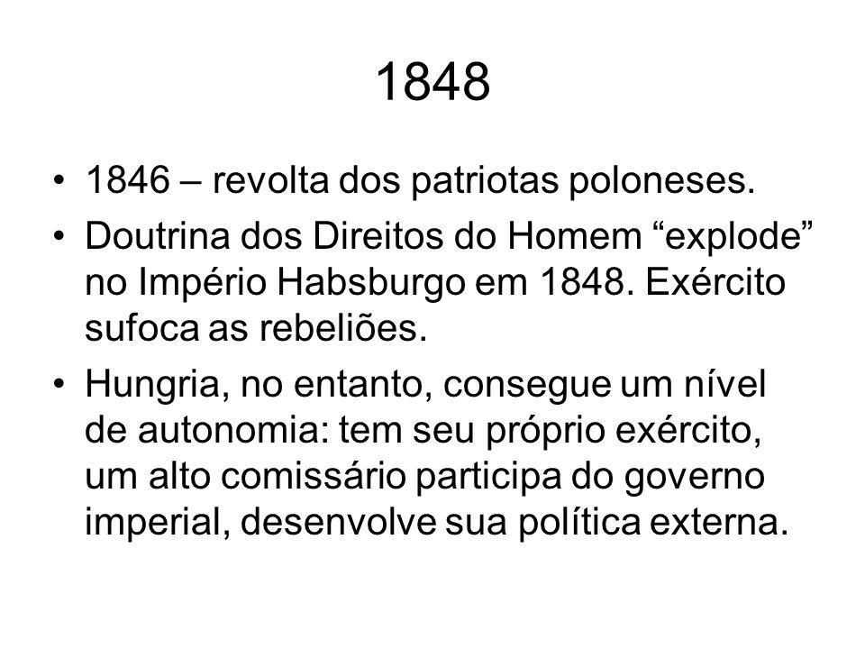 1848 1846 – revolta dos patriotas poloneses. Doutrina dos Direitos do Homem explode no Império Habsburgo em 1848. Exército sufoca as rebeliões. Hungri