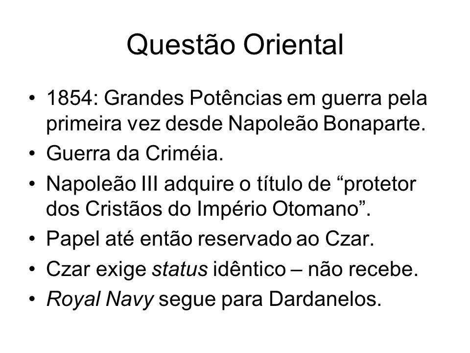 Questão Oriental 1854: Grandes Potências em guerra pela primeira vez desde Napoleão Bonaparte. Guerra da Criméia. Napoleão III adquire o título de pro