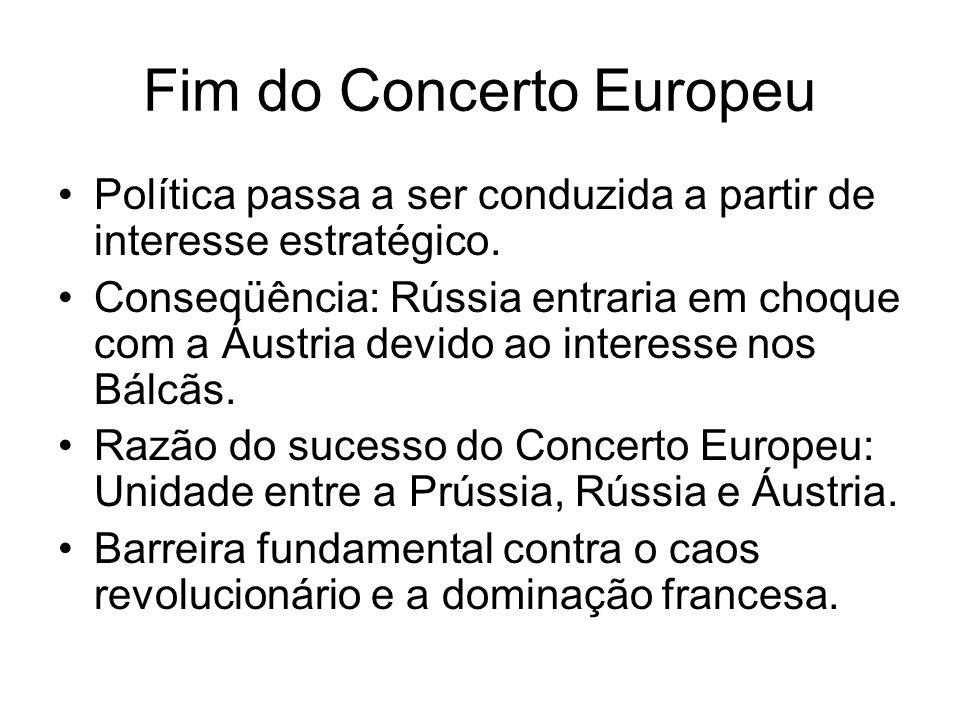 Fim do Concerto Europeu Política passa a ser conduzida a partir de interesse estratégico. Conseqüência: Rússia entraria em choque com a Áustria devido