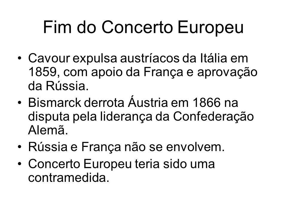 Fim do Concerto Europeu Cavour expulsa austríacos da Itália em 1859, com apoio da França e aprovação da Rússia. Bismarck derrota Áustria em 1866 na di