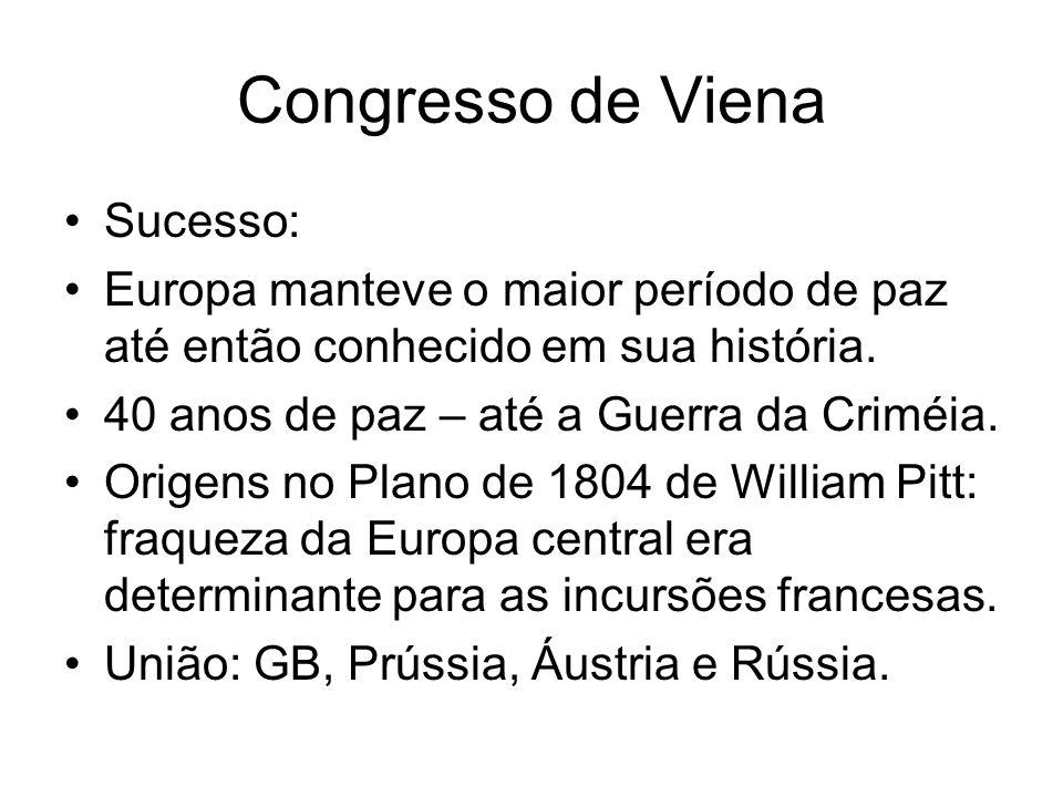 Congresso de Viena Sucesso: Europa manteve o maior período de paz até então conhecido em sua história. 40 anos de paz – até a Guerra da Criméia. Orige