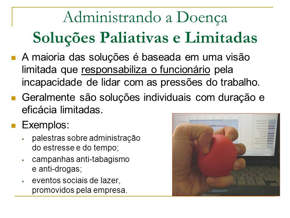 Administrando a Doença Soluções Paliativas e Limitadas A maioria das soluções é baseada em uma visão limitada que responsabiliza o funcionário pela in