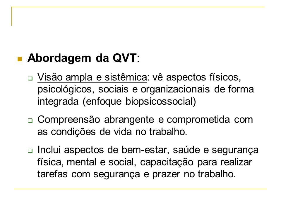 Abordagem da QVT: Visão ampla e sistêmica: vê aspectos físicos, psicológicos, sociais e organizacionais de forma integrada (enfoque biopsicossocial) C