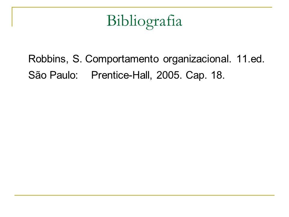 Bibliografia Robbins, S. Comportamento organizacional. 11.ed. São Paulo: Prentice-Hall, 2005. Cap. 18.