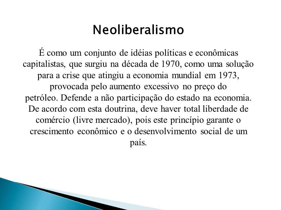 Neoliberalismo É como um conjunto de idéias políticas e econômicas capitalistas, que surgiu na década de 1970, como uma solução para a crise que atingiu a economia mundial em 1973, provocada pelo aumento excessivo no preço do petróleo.