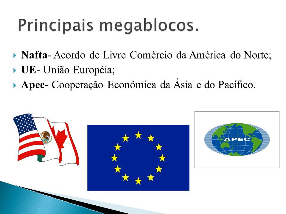 Nafta- Acordo de Livre Comércio da América do Norte; UE- União Européia; Apec- Cooperação Econômica da Ásia e do Pacífico.