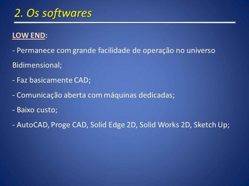 2. Os softwares LOW END: - Permanece com grande facilidade de operação no universo Bidimensional; - Faz basicamente CAD; - Comunicação aberta com máqu