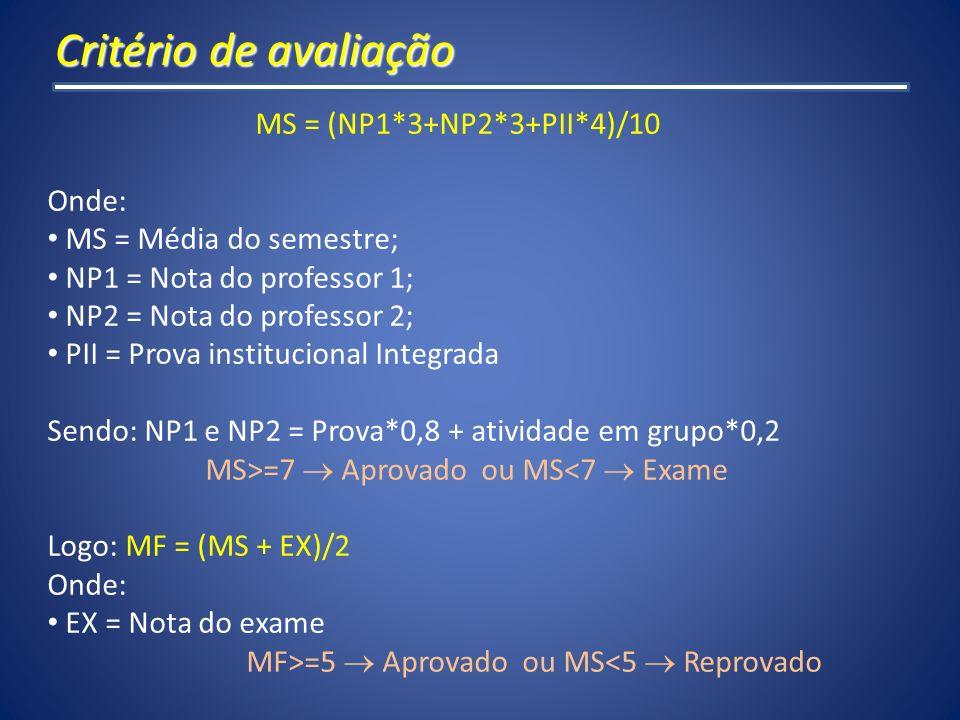 Critério de avaliação MS = (NP1*3+NP2*3+PII*4)/10 Onde: MS = Média do semestre; NP1 = Nota do professor 1; NP2 = Nota do professor 2; PII = Prova inst