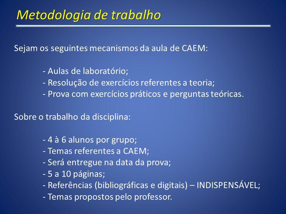 Metodologia de trabalho Sejam os seguintes mecanismos da aula de CAEM: - Aulas de laboratório; - Resolução de exercícios referentes a teoria; - Prova