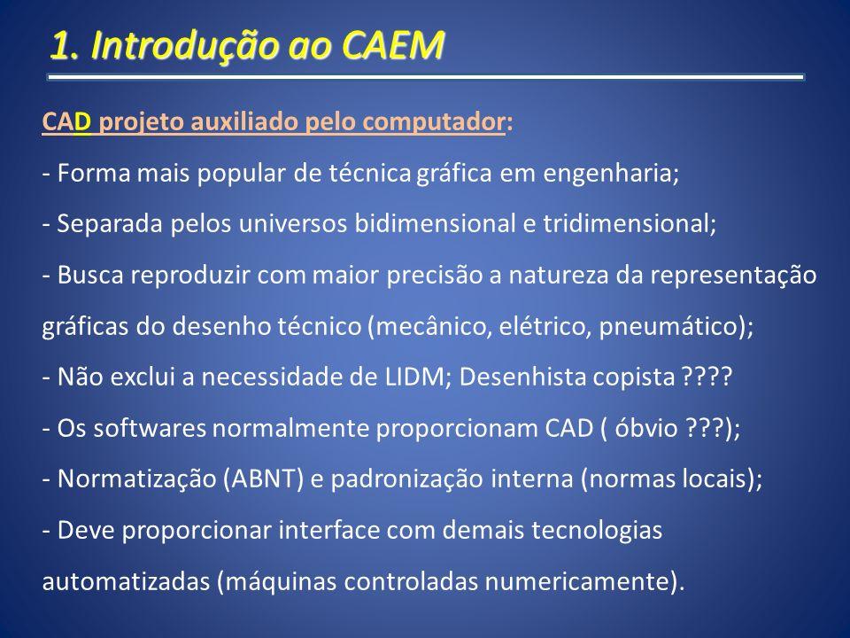 1. Introdução ao CAEM CAD projeto auxiliado pelo computador: - Forma mais popular de técnica gráfica em engenharia; - Separada pelos universos bidimen