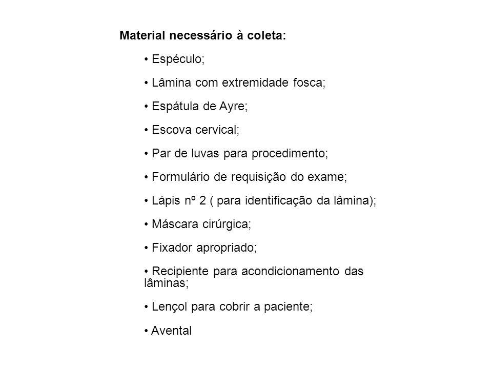 Material necessário à coleta: Espéculo; Lâmina com extremidade fosca; Espátula de Ayre; Escova cervical; Par de luvas para procedimento; Formulário de